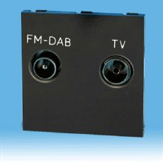 Varilight Black Diplex Module TV/FM (+DAB) Splits Signal back into 2 Outlets (Use with Datagrid Plat